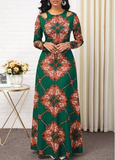 Women'S Green Tribal Print Long Sleeve High Waisted Dress Muslim Maxi Evening Party Dress By Rosewe High Waist Long Sleeve Tribal Print Dress Long African Dresses, Latest African Fashion Dresses, African Print Dresses, African Print Fashion, Women's Fashion Dresses, Sexy Dresses, Xmas Dresses, Ankara Fashion, Party Dresses