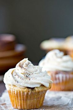 Whipped Brown Sugar Buttercream Frosting Recipe - light and fluffy icing that's so good with pumpkin, apple, or spice cake!