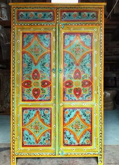Hand painted wardrobe cupboard storage cabinet closet - Meubles indiens peints ...