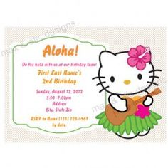 Hello Kitty Hula Party Invitation Hello Kitty Luau hula party invitations [Hello Kitty Hula Invitation] - $8.00 : Max & Otis Designs, handcrafted gifts from a short-attention span crafter