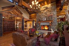 A grand fireplace that feels cozy is just what we need on a chilly morning like this! Photo of River Runs Through It at Log Cabin Living, Log Cabin Homes, Log Cabins, Casas Country, Timber House, Cabin Interiors, Home Interior, Logs, Home Design