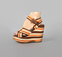 70s STRIPED Boho PLATFORMS / Ankle Strap Brown & Orange WEDGES, 7