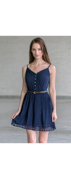 a81ae31999ef Lily Boutique Country Cutie Belted Button Front Dress in Navy, $30 Belted  Navy Sundress,