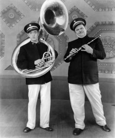 """You're Darn Tootin'"" - Laurel and Hardy are the instrumentalists in this silent movie."