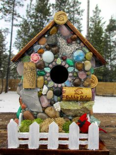 Wine Cork Birdhouse Mosaic Garden Art by WinestoneBirdhouses, $85.00