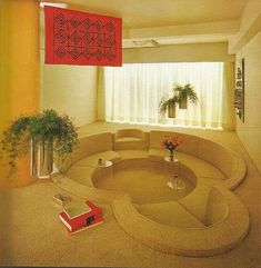 my childhood home had a carpet-covered conversation pit, they were the coolest! i wish i had one now 🙂 my childhood home had a carpet-covered conversation pit, they were the… 80s Interior Design, Home Interior, Interior And Exterior, 1980s Interior, Chillout Zone, Conversation Pit, Architecture Design, Organic Architecture, Casa Retro