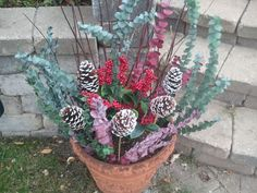 30 Second Mom - Kathleen Braasch: Decorate Outdoor Holiday Planters then Let Them Freeze