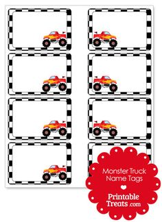 Red Monster Truck Name Tags from PrintableTreats.com