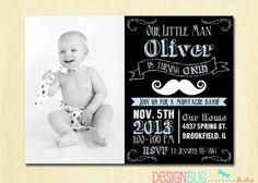 Chalkboard Little Man Mustache Invitation - Baby Boy Moustache Bash - 1, 2, 3, 4 year old - 1st, 2nd... Birthday - Custom Photo Invite $14 digital file