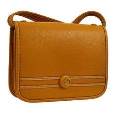 f9df126fc220 Hermes Cognac Leather Gold Crossbody Carryall Shoulder Flap Bag For Sale at  1stdibs