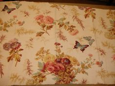 Antique French Floral Fabric 1910  OffWhite by WondersOfThePast, $66.00
