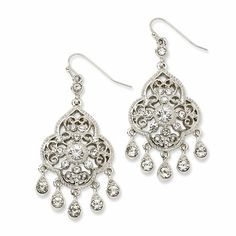 1928 Silver-Tone Crystal Chandelier Dangle Earrings