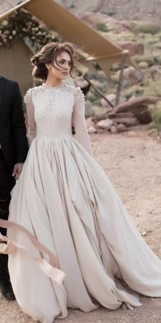 21 Modest Wedding Dresses With Sleeves ? modest wedding dresses with sleeves ball gown beige cathy telle ? : 21 Modest Wedding Dresses With Sleeves ? modest wedding dresses with sleeves ball gown beige cathy telle ? Stunning Wedding Dresses, Perfect Wedding Dress, Dream Wedding Dresses, Bridal Dresses, Modest Wedding Gowns, Wedding Outfits, Gown Wedding, Wedding Dresses With Color, Elegant Gowns