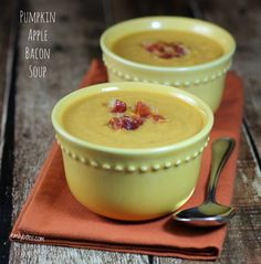 This Pumpkin Apple Bacon Soup has the Fall flavors you crave! Creamy & savory with touches of sweet & smoky - perfect comfort food and only 209 calories!