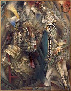 """Jean Metzinger, 1912, Danseuse au café (Dancer in a café), oil on canvas, 146.1 x 114.3 cm, Albright-Knox Art Gallery, Buffalo, New York. Published in Au Salon d'Automne """"Les Indépendants"""" 1912, Exhibited at the 1912 Salon d'Automne"""