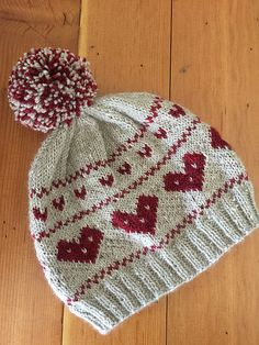 Valentines hat pattern knit in The Fibre Co. My Valentine (DK) by Marinda Lariz Baby Hat Knitting Pattern, Baby Hat Patterns, Baby Hats Knitting, Easy Knitting, Loom Knitting, Knitting Stitches, Fair Isle Knitting, Knitted Hats, Crochet Beanie Hat