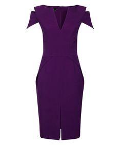 Monaco purple crepe dress Sale - Hybrid Fashion