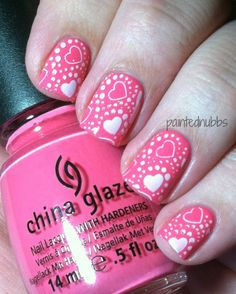 Painted Nubbs: Valentine's Nail Art - Painted Nubbs: Valentine's Nail Art - Heart Nail Designs, Holiday Nail Designs, Holiday Nail Art, Nail Art Designs, Fancy Nails, Love Nails, Pink Nails, Pretty Nails, Romantic Nails