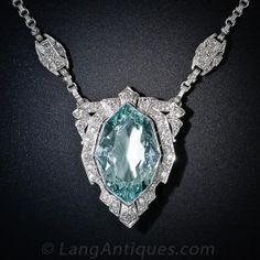Art  Deco Aquamarine and Diamond Necklace - Art Deco Jewelry - Vintage Jewelry