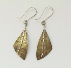 Silver and brass moth wing earrings Sylvia Quinnell  www.gallery57.co.uk