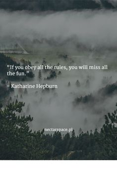 """If you obey all the rules, you will miss all the fun.""   - Katharine Hepburn"