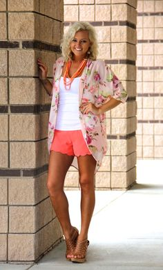 Floral Sheer Cardigan - Scalloped Coral Shorts - Layered Necklace - Whiskey Wedge - Easy and breezy for a hot summer day - NOJ Boutique