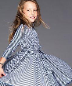 Blue Stripe Infinity Twirl Dress