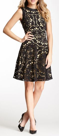 Laser Cut Scuba Girlie Dress