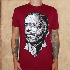 Charles Bukowski - without literature, life is hell - portrait - discharge ink