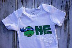 First Birthday Ninja Turtle Onesie Ninja by MySweetPeaCouture