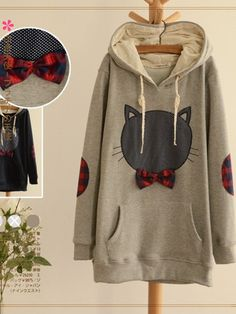 bow cat hoodie $38 asianicandy cutefashion asianfashion japanese kstyle kawaii sweet morigirl