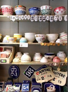 Antique French café au lait bowls.... Love this collection of French things