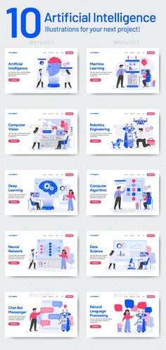 Buy 10 Artificial Intelligence Illustrations by TanahAirStudio on GraphicRiver. 10 Artificial Intelligence Illustration Set of modern flat design concept. Landing page template. Conceptual vector i. Robot Technology, Futuristic Technology, Medical Technology, Energy Technology, Technology Design, Technology Hacks, Technology Articles, Artificial Intelligence Movie, Artificial Intelligence Algorithms
