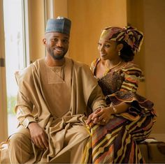 We simply cannot get enough of Hausa couples when it comes to engagements and pre-wedding pictures. Everything about them simply stands out. We can't put it perfectly in words. Couples African Outfits, African Clothing For Men, Couple Outfits, African Wedding Attire, African Attire, African Dress, African Wear, African Style, African Inspired Fashion