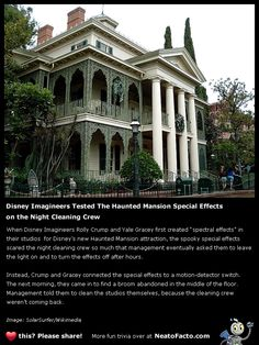 Disney Imagineers Tested the Haunted Mansion Special Effects on the Unsuspecting Night Time Cleaning Crew