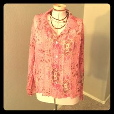 Beautiful pink sparkly blouse Gorgeous pink blouse with paisley design and a touch of sparkle throughout. Sheer, so you will need to wear a tank underneath. Has an extra button still attached to size tag. Bala Bala Tops Blouses
