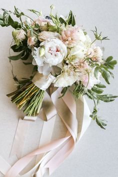 Beautiful rose quartz and white bridal bouquet based on Pantone's colours of the year