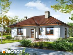 Dom we wrzosach 2 Compact House, Design Case, Pool Houses, Home Fashion, Front Porch, Home Projects, Gazebo, House Plans, Outdoor Structures