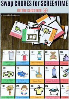 Best Non Chore Chart – Swap Chores For Screen Time with these Chore Chart Cards via – Preteen Parenting Books, Gentle Parenting, Parenting Teens, Peaceful Parenting, Parenting Advice, Natural Parenting, Family Chore Charts, Chore Chart Kids, Chore Chart Teenagers