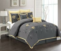 Grand Linen 7 Piece Modern Oversize Grey with Yellow Sunflower Embroidered Comforter Set Queen Size Bedding Full Size Bed Comforter, Grey Comforter Sets, Luxury Bedding Sets, Queen Size Bedding, Gray Bedding, Urban Outfitters, Discount Bedroom Furniture, Shabby, Bed In A Bag