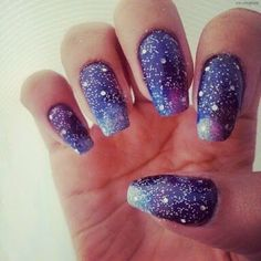 Find images and videos about nails, galaxy and nail art on We Heart It - the app to get lost in what you love. Cute Nail Polish, Cute Nail Art, Nail Polish Designs, Cute Nail Designs, Nails Design, Fancy Nails, Love Nails, Diy Nails, Manicure Ideas