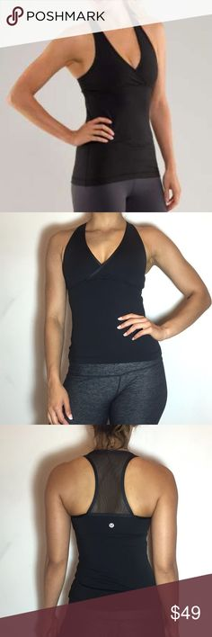 Lululemon Deep V Tank Lululemon Deep V Tank -No tag/size dot, but size 2. -Built-in bra. -Luxtreme -Excellent condition, only flaw is some pilling on the inside of bra.  NO Trades. Please make all offers through offer button. lululemon athletica Tops Tank Tops
