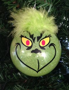Grinch Christmas Glitter Ornament 3.25 Glass Ball    I will make this and mail it to you within 5 business days of payment being received.