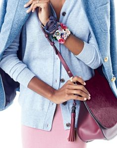 J.Crew women's Rhodes blazer in herringbone, classic V-neck cardigan, sweater skirt, leather calf hair saddlebag, men's Italian silk pocket square with embroidered fishing motif (worn as bracelet) and blooming sequin paillette cuff.