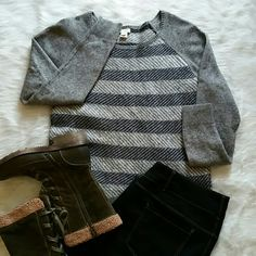 J. CREW sweater Great condition and like new! Thick and warm! J. CREW gray and navy blue sweater. 37% viscose, 35% nylon, and 28% merino wool. Size XL but fits more like a LARGE. J. Crew Sweaters Crew & Scoop Necks