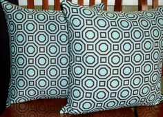 Decorative Accent Pillows Covers  Teal and Brown  Two by berly731, $29.99