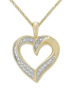 Another great find on #zulily! Diamond & Gold Heart Pendant Necklace #zulilyfinds