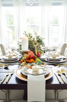 "Blogger Kelley Nan Lopez understands that while the Thanksgiving turkey may get all the attention, the table upon which it is set truly the star!  Known for her beautiful takes on ""traditional with a twist"", we asked Kelley to create a tablescape that encompassed the reality of how most people decorate – in layers."