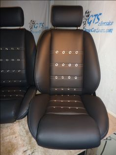 MonteCarlo seats in leather w perforated leather centers ,grommets and grey stitching.Classic seats by GTSclassics