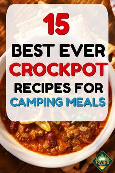 Here are 15 of our best ever crockpot recipes for camping meals. These crockpot meals make meal planning in an RV kitchen super easy. These 15 dinner recipes will give you some ideas on what to make for your next camping trip. Rv Camping Recipes, Camping Menu, Camping Desserts, Easy Food For Camping, Meals For Camping, Camping Dinner Ideas, Camping Foods, Backpacking Meals, Ultralight Backpacking